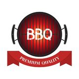 Vector premium quality meat, barbecue grill icon, bbq concept. Cartoon flat style. Vector illustration of premium quality meat, barbecue grill icon, bbq concept Stock Image