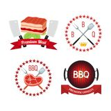 Vector premium quality meat, barbecue grill icon, bbq concept. Cartoon flat style. Vector illustration of premium quality meat, barbecue grill icon, bbq concept Royalty Free Stock Photo