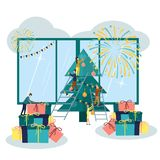 Vector illustration, preparing for the new year in the city, festive decoration of the atmosphere and fireworks, the main tree.  stock illustration
