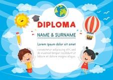 Vector Illustration Of Preschool Kids Diploma. Eps 10 Royalty Free Stock Image