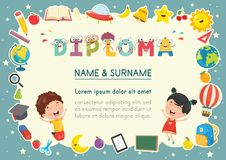 Vector Illustration Of Preschool Kids Diploma. Eps 10 Royalty Free Stock Photography