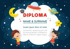 Vector Illustration Of Preschool Kids Diploma. Eps 10 Royalty Free Stock Photo