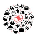 Vector japanese food and sushi colored icons in circle design concept. Illustration for presentations on white. Vector Illustration for presentations japanese Stock Images