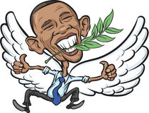 Vector illustration of President Obama as a Dove of Peace. Accepted Nobel Peace Prize Stock Photography