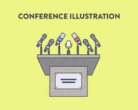Vector illustration of a press conference Stock Photo