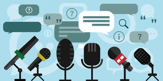 Press conference microphones. Vector illustration of press conference with microphones speech boxes quotes and communication process pictured Stock Image