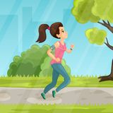 Young girl running in the park vector flat illustration. Vector illustration of pretty young girl with headphones running in the park. Flat style design Stock Images