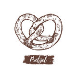 Vector illustration of pretzel.Concept for menu,food store etc. Bavarian sign with sketched bagel.Vintage pastry label. Royalty Free Stock Photography