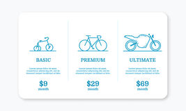 Vector illustration of pricing subscription plan table template with blue bicycles and motocycle in line style. Stock Images