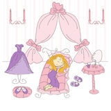 Vector illustration of a princess bedroom. Vector illustration of a little princess bedroom Stock Photography