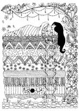 Vector illustration, princess the pea zentangle, dudling, Doodles art zenart. Sleeping girl, floral frame.  Adult Royalty Free Stock Photos