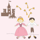 Vector illustration with princess and prince Stock Photo
