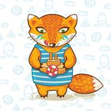 Vector illustration print of a cartoon fox with Stock Photos