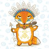 Vector illustration print of a cartoon indian fox Royalty Free Stock Photos