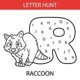 Animal letter hunt raccoon. Vector illustration of printable kids alphabet worksheets educational game Letter hunt  for preschool children practice with cartoon Royalty Free Stock Photos
