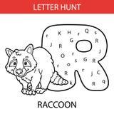 Animal letter hunt raccoon. Vector illustration of printable kids alphabet worksheets educational game Letter hunt for preschool children practice with cartoon stock illustration