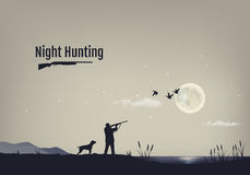Vector illustration of the process of hunting for ducks in the night. Silhouettes of a hunting dog with the hunter Stock Image