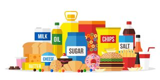 Processed food illustration. Unhealty eating. Vector illustration of processed food. Unhealty eating concept. Flat style Stock Photography