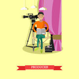 Vector illustration of producer reading screenplay in flat style. Vector illustration of producer reading screenplay. Record producer, production director Stock Image