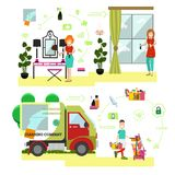 Vector set of cleaning people symbols, icons in flat style. Vector illustration of professional cleaning ladies washing window, furniture, cleaner male with Stock Photography