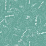 Vector illustration of professional swimming equipment seamless. Pattern in flat design style Royalty Free Stock Photo
