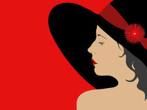 Vector illustration of a profile of a girl in a wide-brimmed hat Royalty Free Stock Image