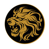 Vector illustration, profile silhouette head of a roaring lion, coat of arms on a coin Royalty Free Stock Photo