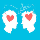 Vector Illustration of Profiles of two men connected by love wir Royalty Free Stock Images