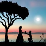Vector Illustration . Propose Marriage Under The Tree