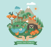 Vector illustration of protection nature. Royalty Free Stock Photography