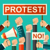Vector illustration protest concept. Mans fists, protest placard symbol. Hands holding signs and bullhorn. Politic crisis, politic. Vector illustration protest stock illustration