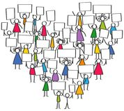 Vector illustration of protesting colorful stick figures, children holding up blank signs standing in shape of heart. Vector illustration of protesting colorful Royalty Free Stock Image