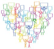 Vector illustration of protesting colorful stick figures, holding up blank signs standing in shape of heart. Isolated on white background Stock Images