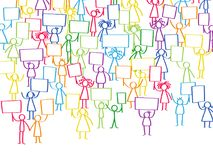 Vector illustration of protesting colorful stick figures, holding up blank signs. Isolated on white background Royalty Free Stock Photography