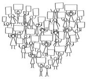 Vector illustration of protesting stick figures, holding up blank signs standing in shape of heart. Isolated on white background Stock Photos