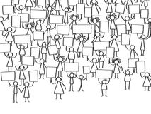 Vector illustration of protesting stick figures, holding up blank signs. Isolated on white background Royalty Free Stock Photo