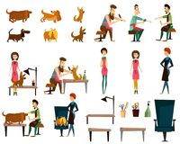 Barber pet grooming salon vector flat icon set Royalty Free Stock Images