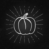 Vector illustration of pumpkin on the chalkboard. Happy Halloween concept. Vintage rays. Royalty Free Stock Photography