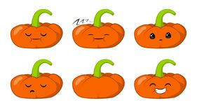 Vector illustration of an pumpkin Cute cartoon vegetable vector character set isolated on white. Emotions. Stickers. kawaii royalty free illustration