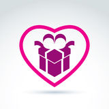Vector illustration of a purple gift box sign placed in a heart Stock Photos