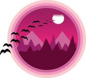 Vector illustration of purple mountains and moon. Beautiful night scenery. Natural landscape royalty free illustration