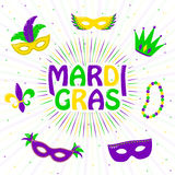 Vector illustration of purple, yellow, green mardi gras greeting card Stock Image