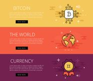 Crypto currency global banner Stock Photography