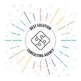 Finding Solution Badge Icon. A vector illustration of puzzle piece icon on a white background Stock Photos