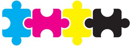 Puzzle pieces cmyk concept on white Royalty Free Stock Photo