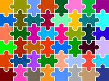Puzzle pieces multi colored background. Vector illustration of puzzle pieces colorful background - white outline Stock Photography