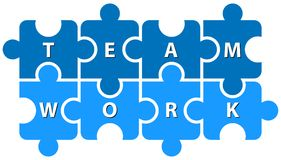 Puzzle pieces team work on white Stock Photography