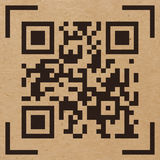 Vector illustration of Qr code sample. On craft paper background. Scanned Qr code reads Scan it Royalty Free Stock Image