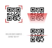 Qr code samples. Vector illustration of Qr code samples. Scanned Qr code reads Buy it Royalty Free Stock Photo