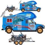 Vector illustration of quad bike, travel car and trailer in flat design. Vector illustration of quad bike, travel car and trailer isolated on white background stock illustration